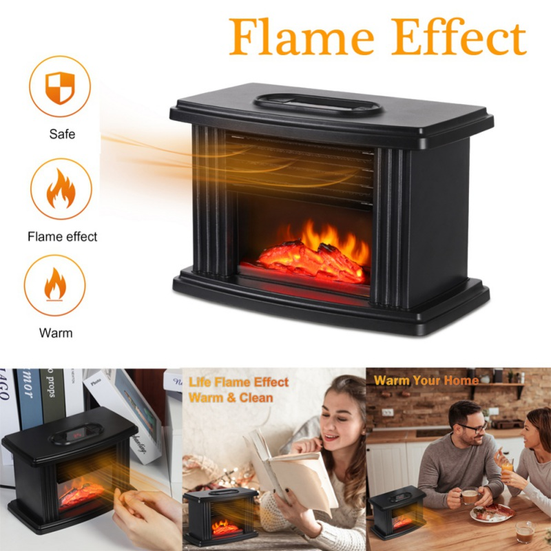 Black Electric Heater Personal Space Heater Warmer PTC Heating Adjustable Overheat &Tip-Over Protection Home Warm Supplies