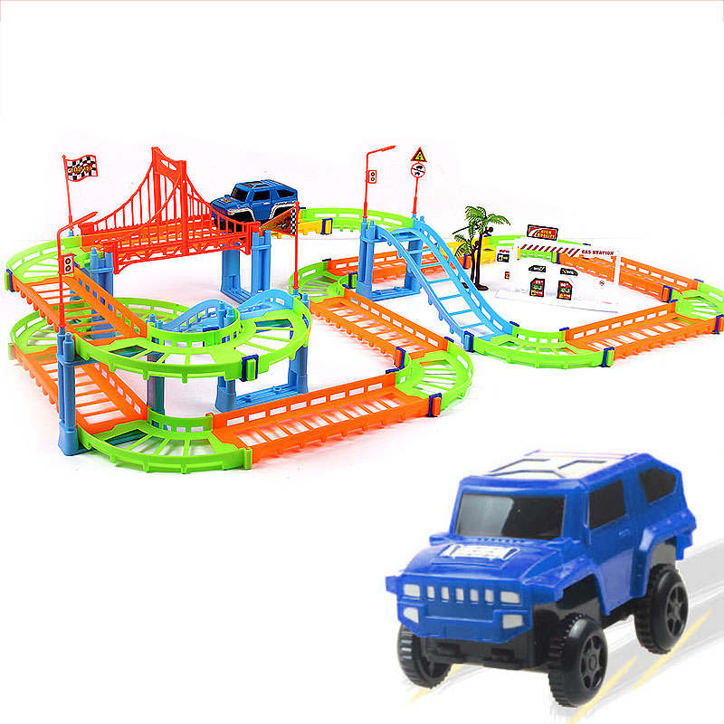 High Quality 74PCS 3D Two-layer Spiral Track Roller Coaster Toy Electric Rail Car For Child Kids Gift
