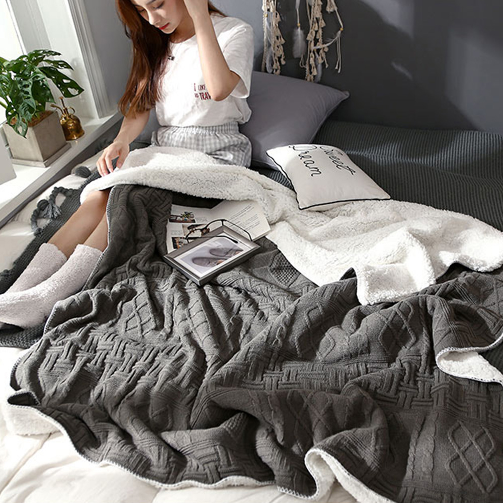 Sherpa jeter couverture Super doux réversible Ultra luxueux couverture en peluche pour bureau maison voyage Camping voiture dormir 130*160cm