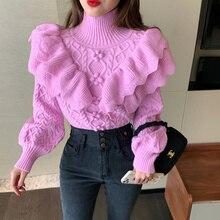 Ruffled Floral Knitted Sweater Women 2021 Fashion Vintage Turtleneck Lantern Sleeve Female Elegant Pullovers Chic Retro Knitwear