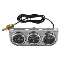 Universal 2 Inch 52mm Chrome Oil Pressure Water Temp Volt Triple Gauge Set 3 in 1(China)