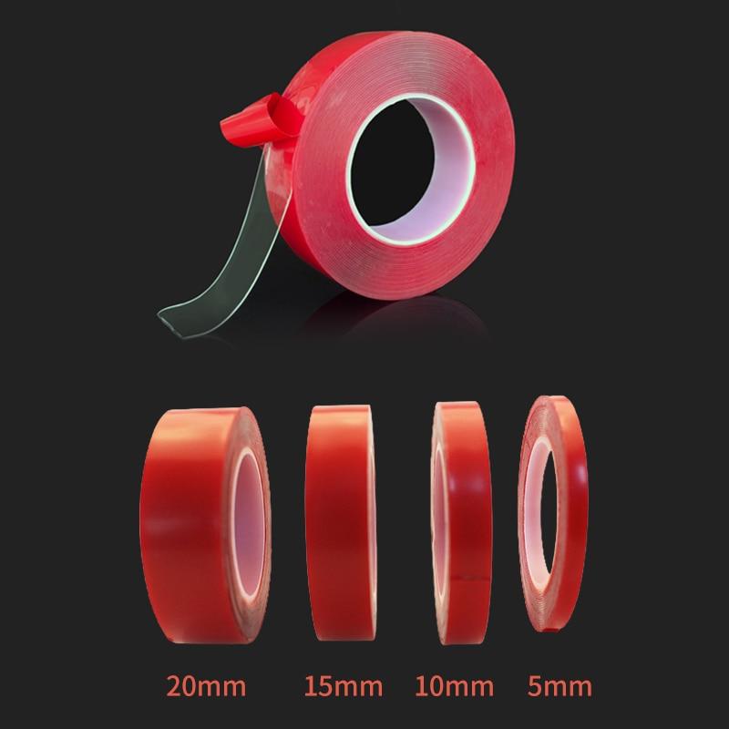 Прозрачная силиконовая двухсторонняя лента 5/10/15/20 мм, водонепроницаемая Бытовая настенная клейкая лента, автомобильная наклейка, автомоби...