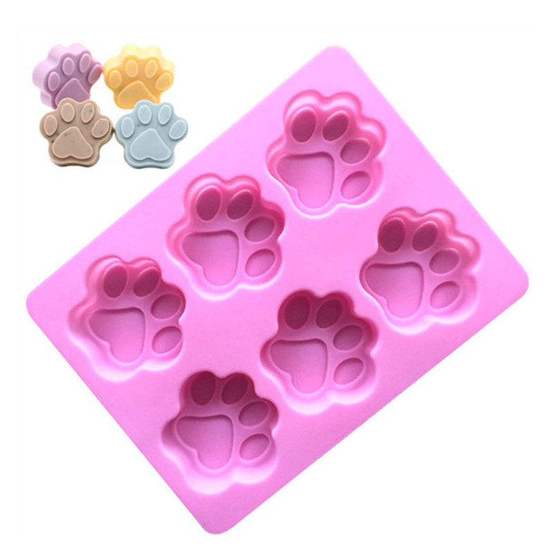 Handmade Soap Making Tools Cat Feet Pattern Cake Chocolate Silicone Mould Non-toxic Soap Mold 6 Cavities Handcrafted Accessories