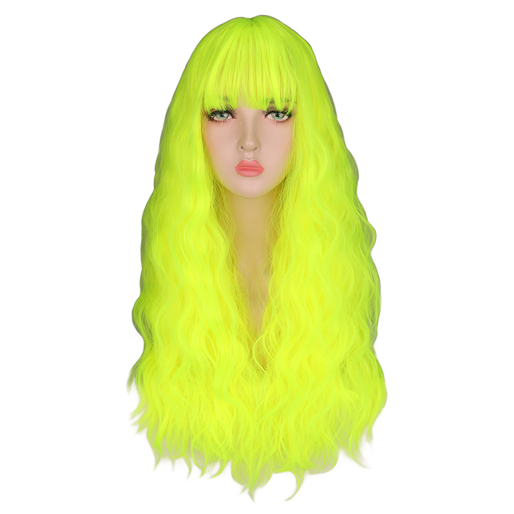 QQXCAIW Kinky Curly Wigs Natural Long Silky Neon Yellow Color Heat Resistant Hair Synthetic Wig