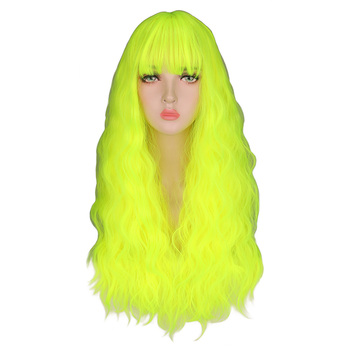 QQXCAIW Kinky Curly Wigs Natural Long Silky Neon Yellow Color Heat Resistant Hair Synthetic Wig - discount item  32% OFF Synthetic Hair