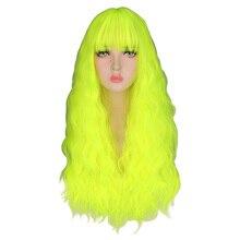 Qqxcaiw 変態カーリーかつらナチュラルロング絹のようなネオン黄色耐熱毛合成かつら