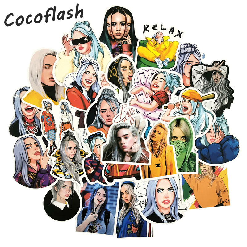 50 PCS Famous Singer Billie Eilish Stickers For Chidren Toy Waterproof Sticker To DIY Suitcase Laptop Bicycle Helmet Car Decals
