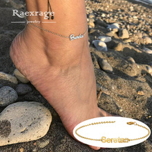 Name-Anklet Stainless-Steel Personalized Jewelry Letter Women Raexrage for Girl Cuban