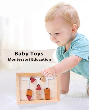 Baby Montessori Toy Wooden Early Educational Shape Matching Toy Logical Reasoning Training Puzzles Game Children Intelligence 12 in 1 intelligence brain training metal puzzles set silver