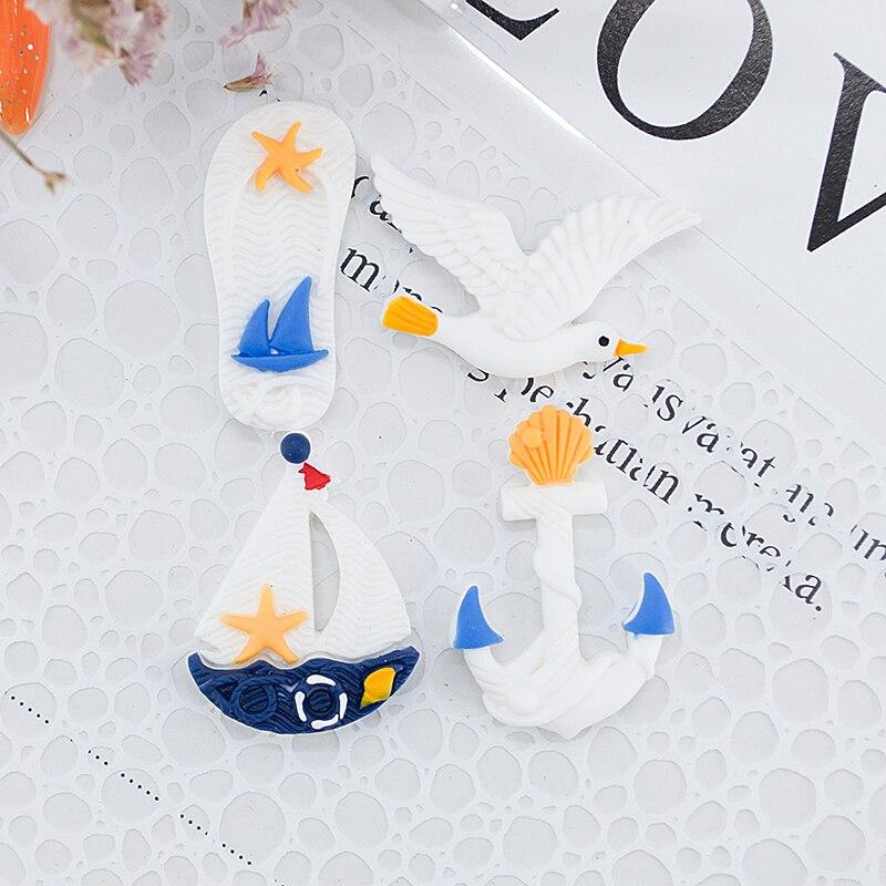 8pcs Kawaii Resin Sailboat/Seagull/Slipper Miniature Flatback Cabochon Art Supply DIY Craft Decoration Homemade Gift Phone Deco