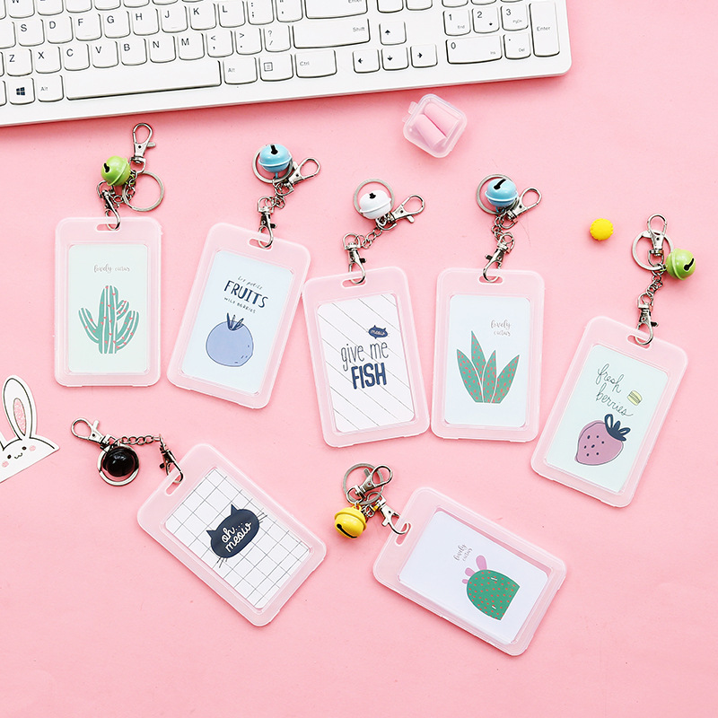 1PC Students Cute Cartoon Cactus Cat Fruit Bus Office ID Card Cover Holder Case Office Company Supplies Work Bus Card Holder