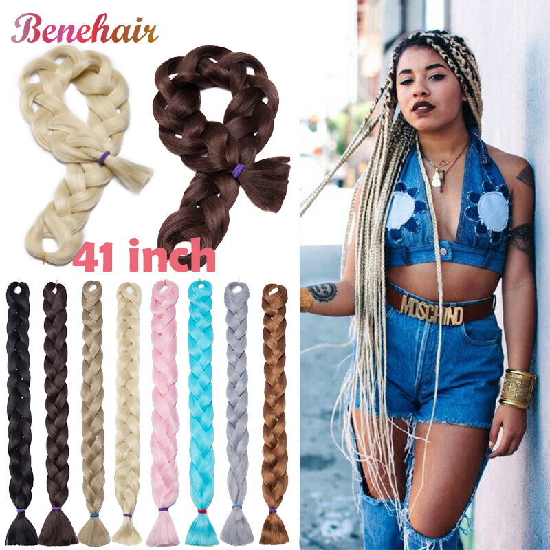 BENEHAIR 41'' Synthetic Braiding Hair Jumbo Braids Hair Crochet Hair Extensions Hairpiece For Black Women Fake Hair Pink Blue