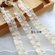 4 metros/lote elástico bege bilateral rendas guarnições algodão estiramento laço fita diy meias vestido hometexile envoltório webbing fita ornamentada