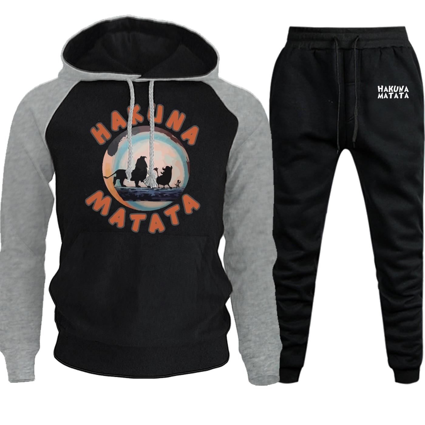 2019 Autumn Winter New The Lion King Sweatshirts Raglan Mens Fleece Hoodies Cartoon Suit Male Casual Pullover+Pants 2 Piece Set