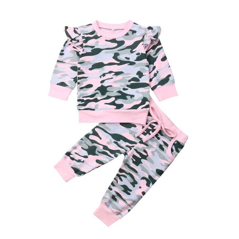 Citgeett/осенняя одежда для маленьких девочек; Камуфляжный свитер; Топы и штаны; Комплекты одежды для младенцев; Спортивный костюм; Осенний Камуфляжный комплект
