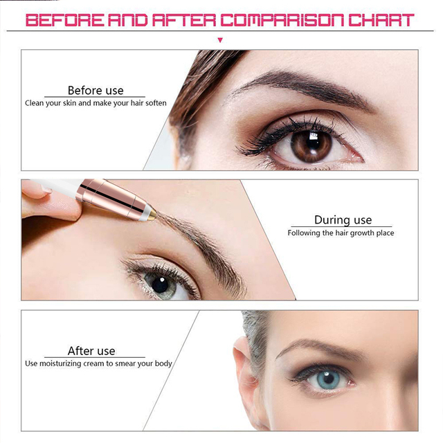 Lipstick Trim Brows Eyebrow Trimmer Instant Painless Shaving Eye Brow Epilator For Women Eyebrow Shaver Trimmer Battery Type 1