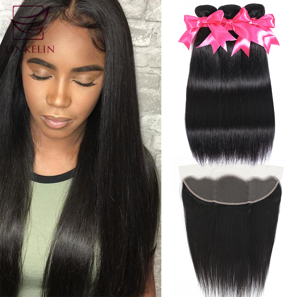 LINKELIN HAIR Straight Human Hair Bundles Peruvian Straight Hair Bundles With Frontal 13*4 Lace Frontal With Bundles