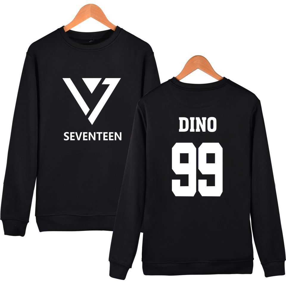Seventeen17 Clothes Series Concert Celebrity Style Round Neck Sweater Black And White Two-color Autumn Clothing Should Aid Song-