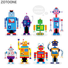 Zotoone iron on cartoon robot patch for clothing washable sticker