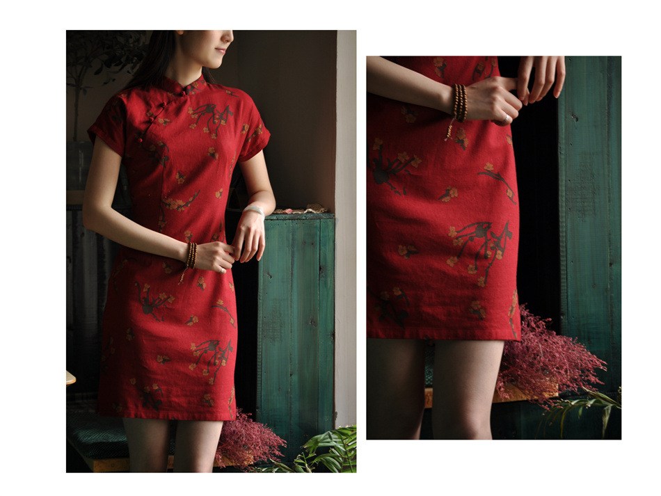 WOMEN'S Dress Photo Shoot Classic Improved Cotton Linen Flax Wintersweet Printed Stand Collar Handmade Frog Cheongsam