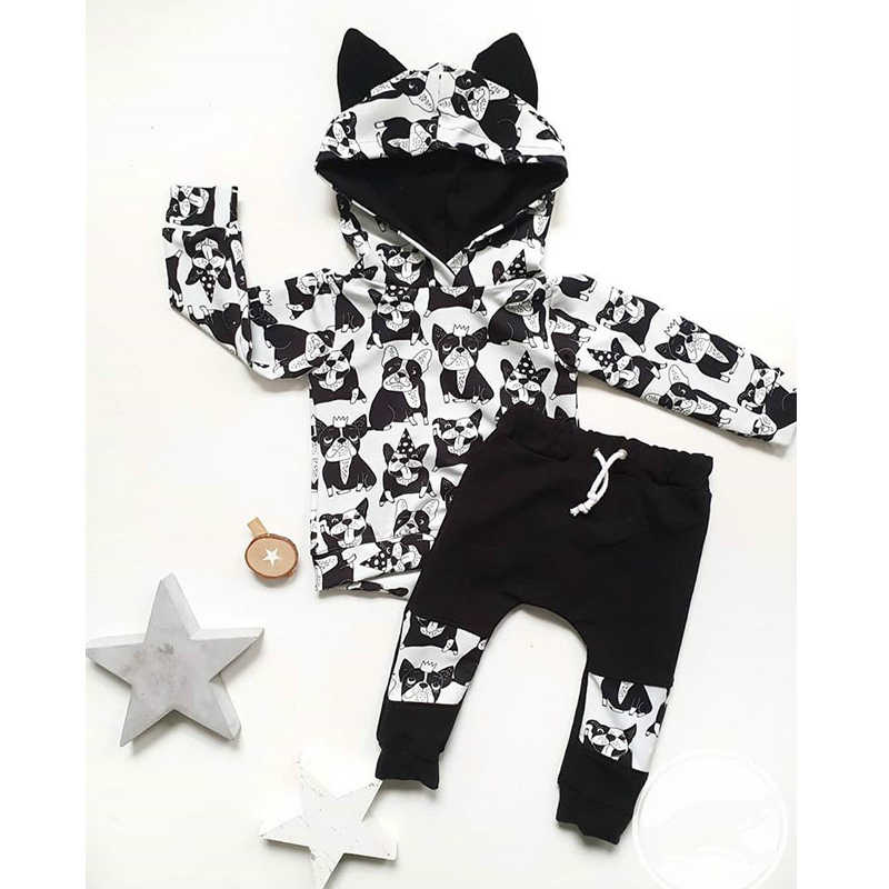 2pcs Kids Toddler Clothes Sets Girls Boys Cartoon Print Hoodie Tops+Pants Tracksuit Outfits Set Lovely