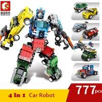 777 pçs 4 em 1 transformação bloco de construção do carro conjunto grandes marcas criador brinquedos para crianças