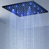 Black Rainfall Shower Head 304 stainless steel 16/20 LED Light Color Changing Shower Head Bathroom SPA Mist Rain Shower Panel