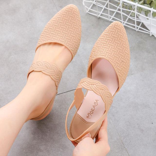 Summer Women's Flat Sandals Candy Fashion Women Wedge Sandals Solid Rubber Ladies Summer Sandals 1
