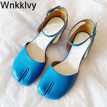 Sandals Dress-Shoes Genuine-Leather Summer Women Mid-Heel Mary Split Runway Shallow Ankle-Strap