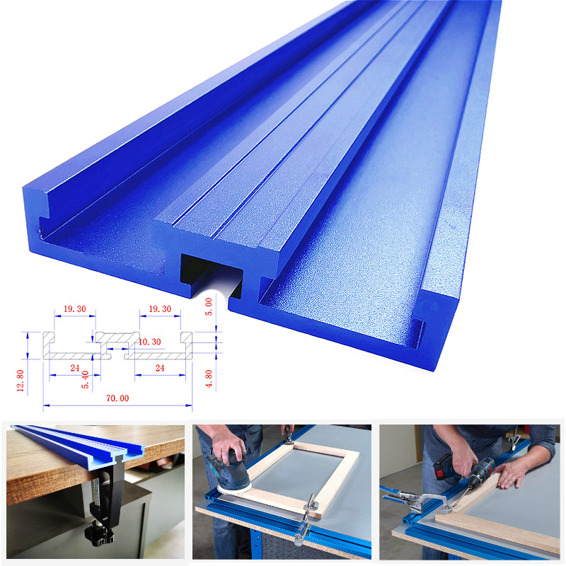 Woodworking Chute Aluminium Alloy <font><b>T</b></font>-<font><b>tracks</b></font> Model 70 <font><b>T</b></font> Slot and Standard Miter <font><b>Track</b></font> Stop <font><b>Track</b></font> Fence for Workbench Router Table image