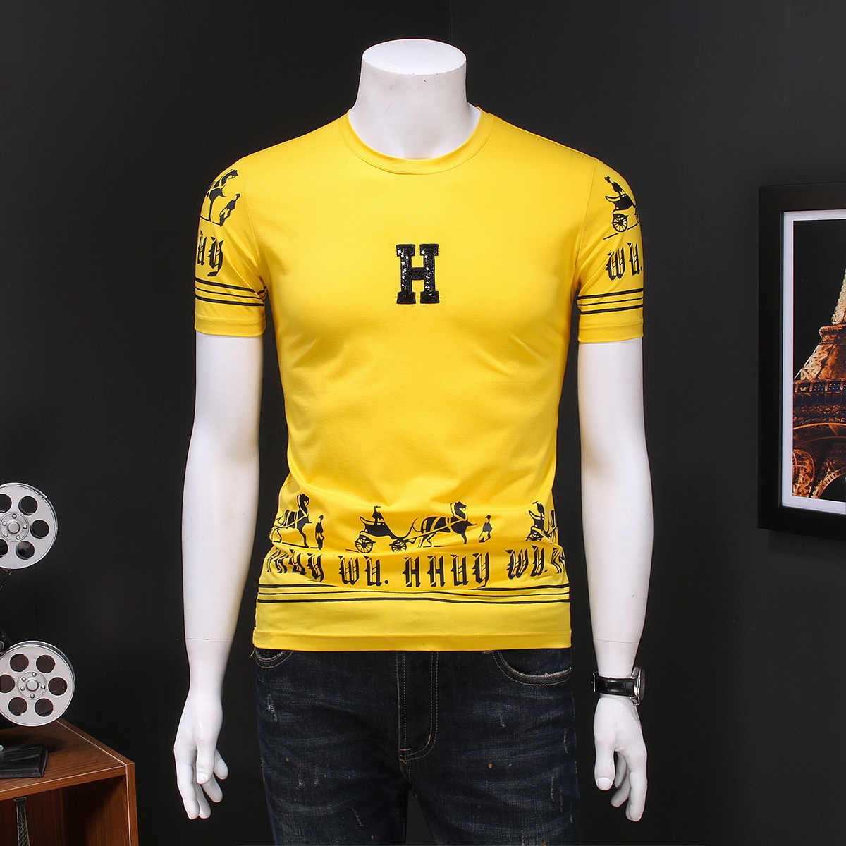 한국어 여름 T 셔츠 남성 슬림 맞는 인쇄 캐주얼 티 셔츠 옴므 2020 짧은 소매 남자 T-셔츠 Camisetas Hombre Tshirt For Men