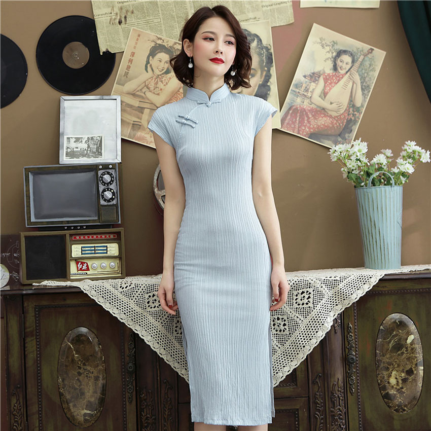 Traditional Chinese Wedding Dresses For Women Oriental Elegant Classic Slim Cheongsam Cotton Linen Long QIpao Lady Banquet