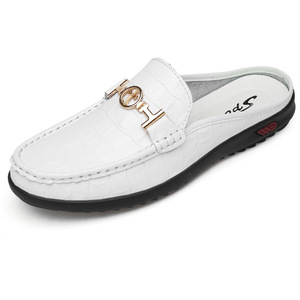 Image 5 - Moccasins Men Shoes Cowhide Social Hollow out Large Size Small Half Loafers