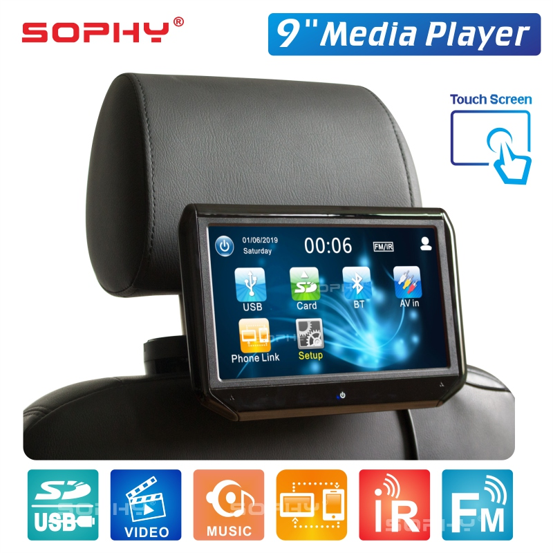New 9 inch Touch Screen Auto Car Headrest Monitor Seat Back MP5 Video Player USB/SD/IR/FM/Bluetooth Built-in Speakers SH9088C-P5 title=