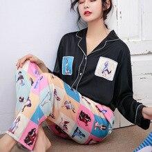 Ice Silk Pajamas Woman Sweet Lovely Imitate Real Silk Sleepwear Long Sleeve Trousers Twinset Pyjamas