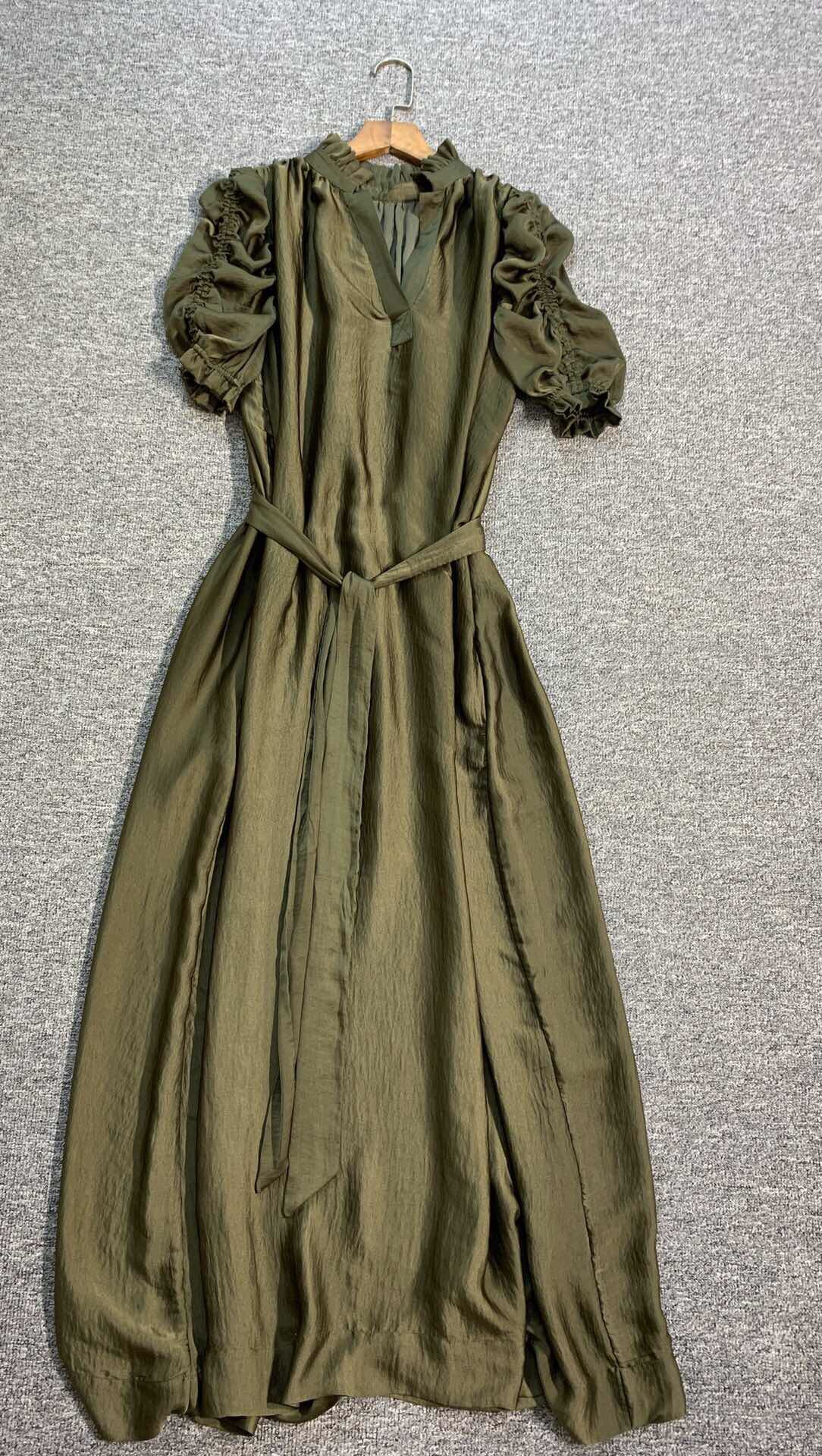 Women Dress  New Olive Green Waist Long Dress