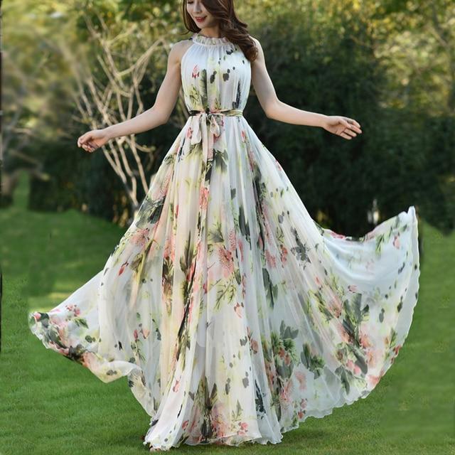 Summer Floral Long Chiffon Maxi Dress Gown Plus Sizes celebrity/graduation/Dinner Dress Beach Bridesmaid Sundress 2