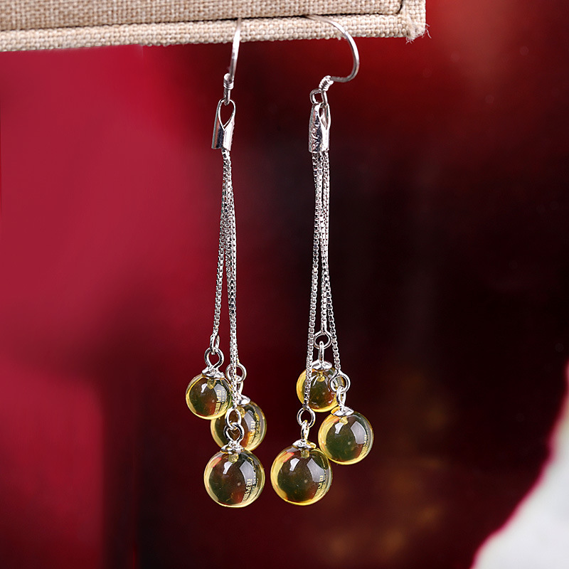 Fashion Natural Amber Ball Long Drop Earrings For Women Authenic 925 Sterling Silver Earrings For Wedding Engagement Gift
