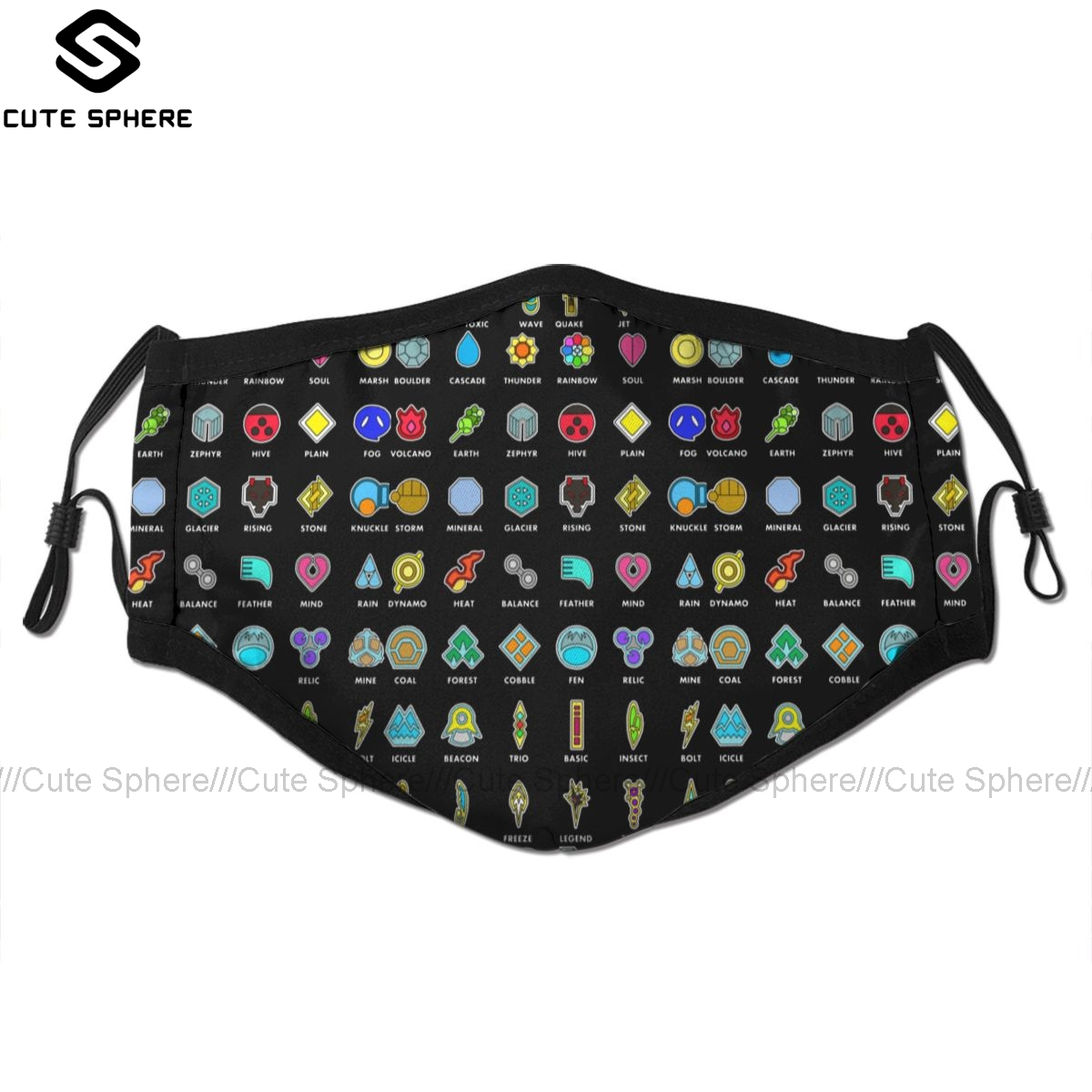 Pokemon Mouth Face Mask Pokemon Badges Facial Mask Fashion Funny With 2 Filters For Adult