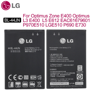 Image 1 - LG Original BL 44JN Phone Battery For Optimus Zone E400 Optimus L3 E400 L5 E612 EAC61679601 P970 E510 LGE510 P690 E730 1500mAh