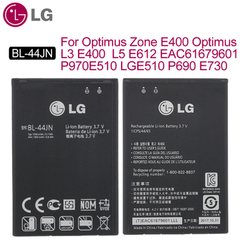 цена на LG Original BL-44JN Phone Battery For Optimus Zone E400 Optimus L3 E400 L5 E612 EAC61679601 P970 E510 LGE510 P690 E730 1500mAh