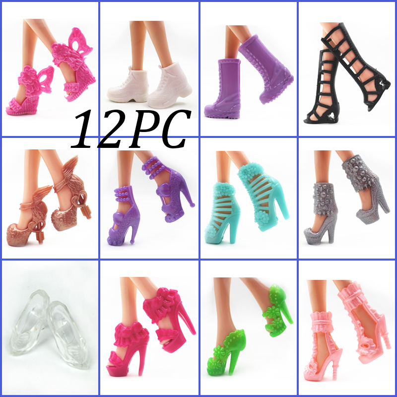 12pairs/set Fashion <font><b>Doll</b></font> <font><b>Shoes</b></font> For Barbie <font><b>Doll</b></font> Sandals <font><b>1/6</b></font> <font><b>Doll</b></font> <font><b>Shoes</b></font> Boots For Barbie <font><b>Dolls</b></font> Outfit Dress With Lots of Designs image
