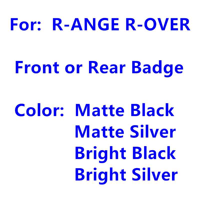 Pegatina decorativa para capó de coche, insignia de marca con logotipo letras, para Range Rover, capó de coche, capó de cabeza delantera o trasera