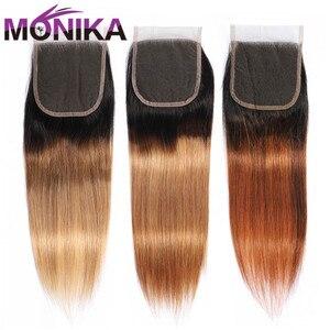 Image 5 - Monika Cierre de pelo liso brasileño, T1B #4 #27 #30, 4x4, cierre de pelo humano no Remy