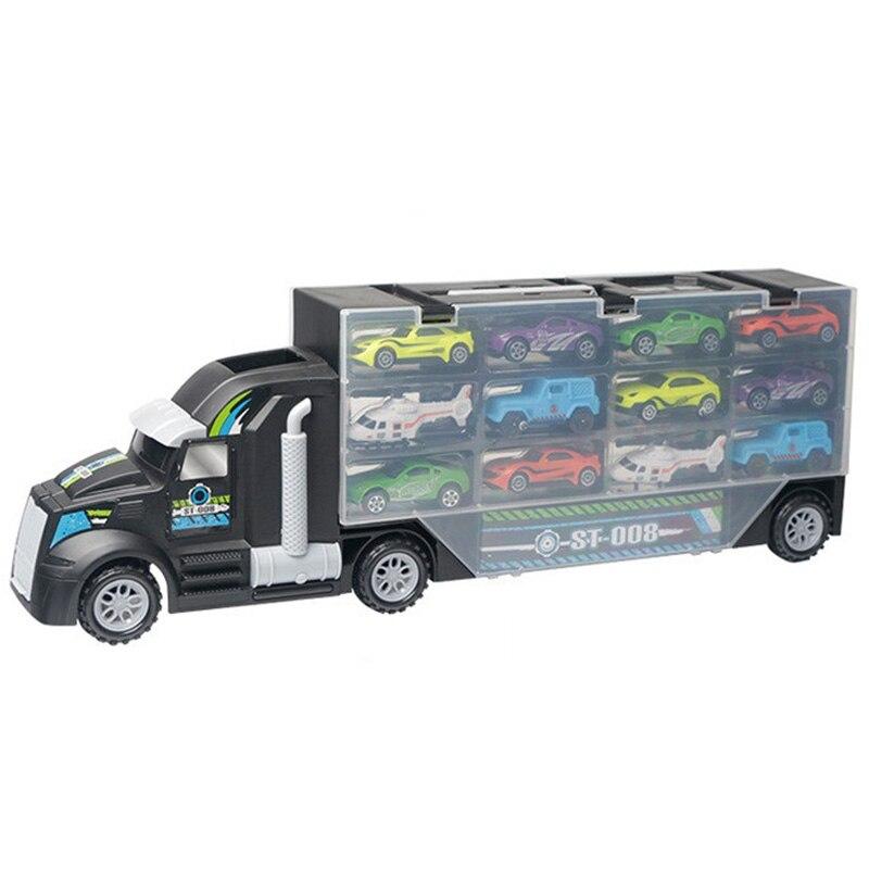 13 шт./компл. транспортный автомобиль грузовик Перевозчик игрушек» для мальчиков (в том числе сплав 10 машин и 2 вертолета) для детей