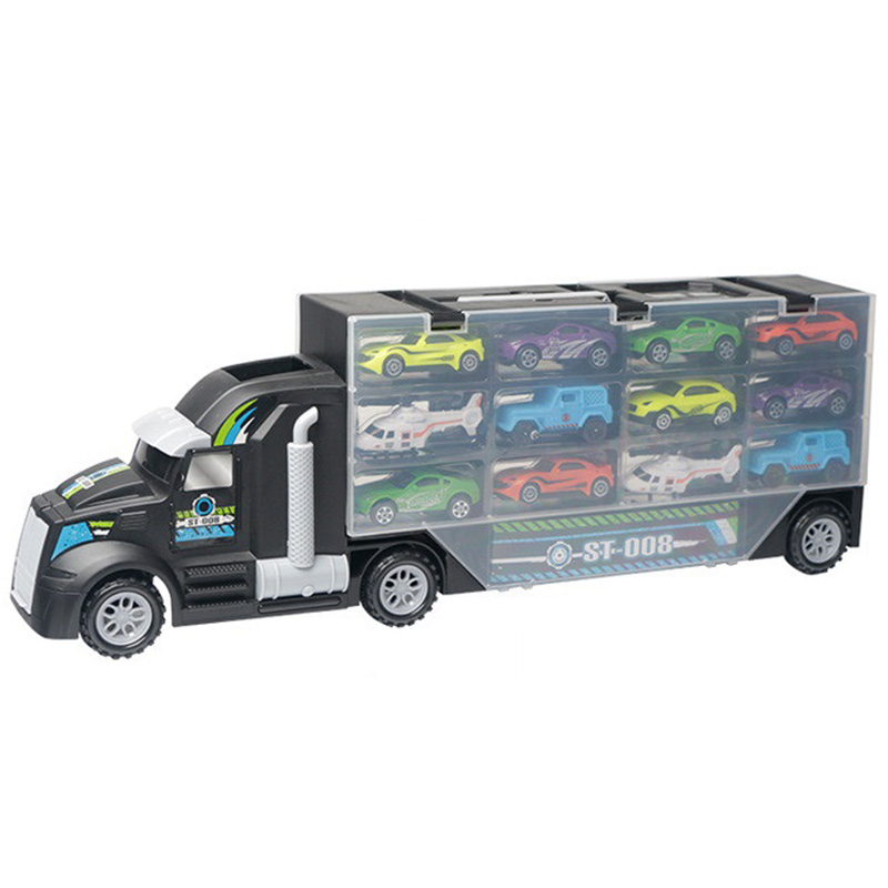 13Pcs/Set Transport Car Carrier Truck Boys Toy (Include Alloy 10 Cars and 2 Helicopters)For Kid Children image