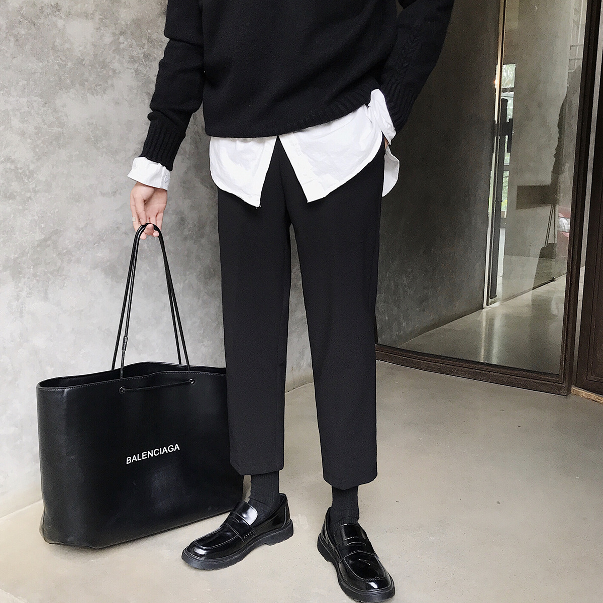 K8156 2019 Autumn And Winter Type Significant Leg Length INS Super Fire Black Plus Velvet Casual Pants Men's Thick Skinny Suit P