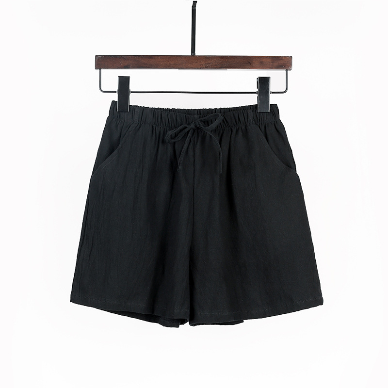 Summer Women's Shorts Plus Size Loose Casual Sports Shorts For Students Cotton And Linen Black Wide Leg Shorts Female