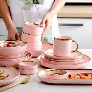 Розовая керамическая посуда, инкрустация, скандинавский домашний декор, фарфоровая тарелка, суповая миска, чашка, кухонная утварь для ресто...