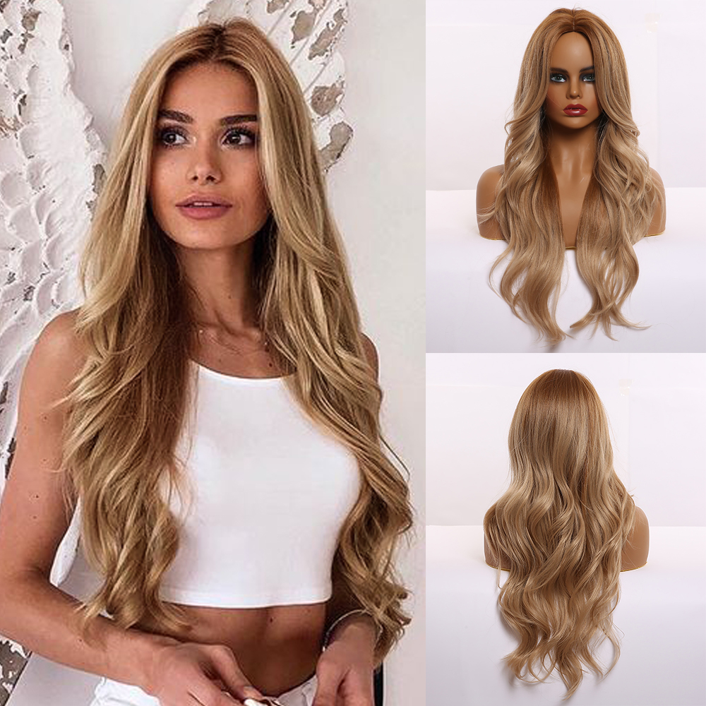 Long Ombre Brown Synthetic Wigs For Black Women Middle Part Natural Wavy Layered Wigs Heat Resistant Cosplay Fashion Wigs